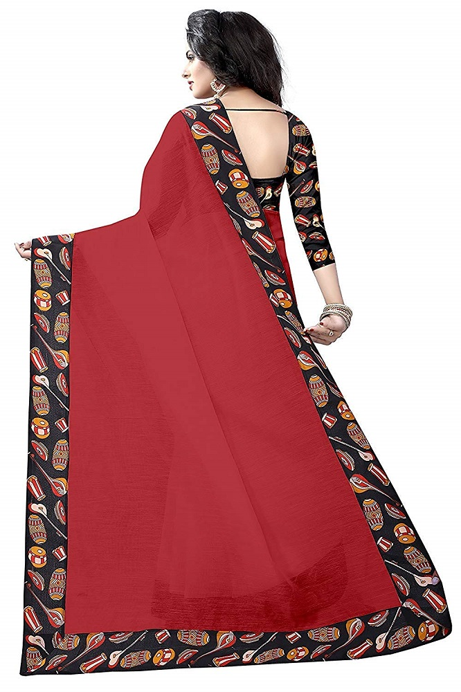 e980bc36b98a75 Buy Red Color Chanderi Cotton Plain Saree With Printed Blouse Piece ...