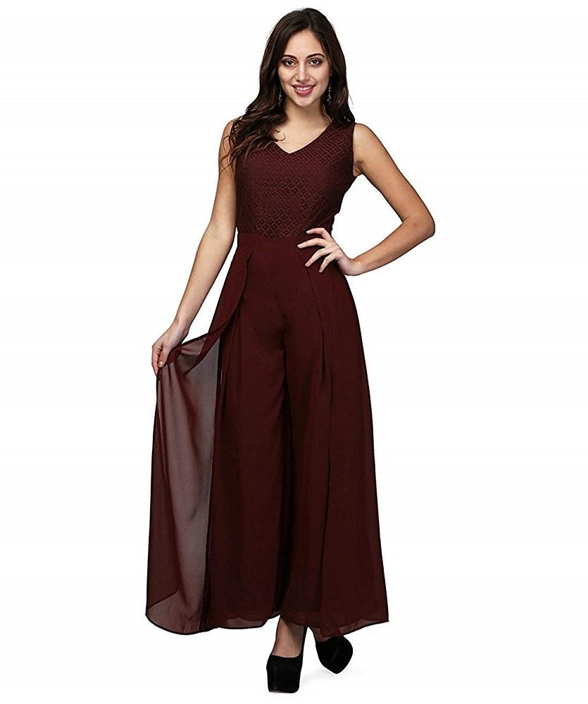 55a5bd8a6d7d Buy Chocolate Brown Lace Party Wear Jumpsuit For Women - V M Online ...