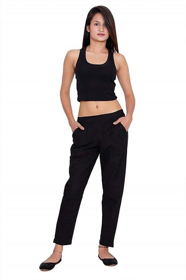 Cotton Regular Fit Black Pants