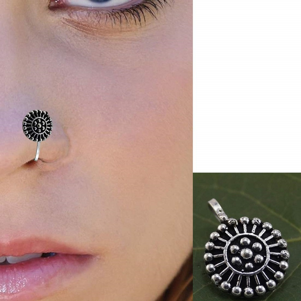 Buy Silver Black Oxidised Designer Nose Pin For Girls Women