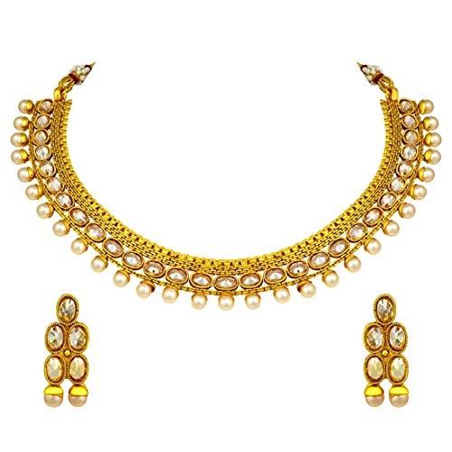 Women Gold Plated Polki Golden Pearl Bridal Choker  /& Earring Indian Party Wear