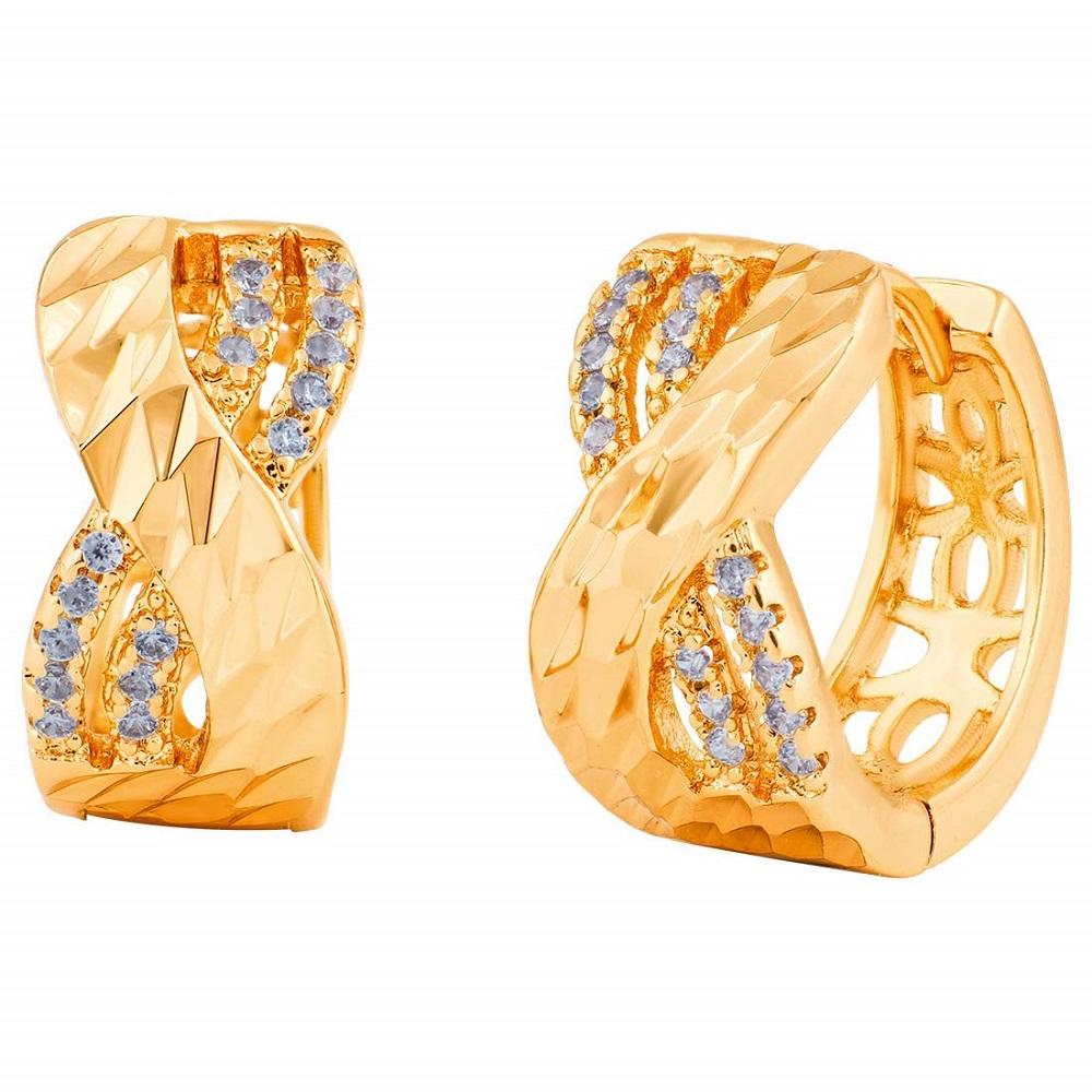 fce855ae0 Buy Party Wear Fancy 18K Gold Plated Elegant Infinity CZ Huggie Hoop ...