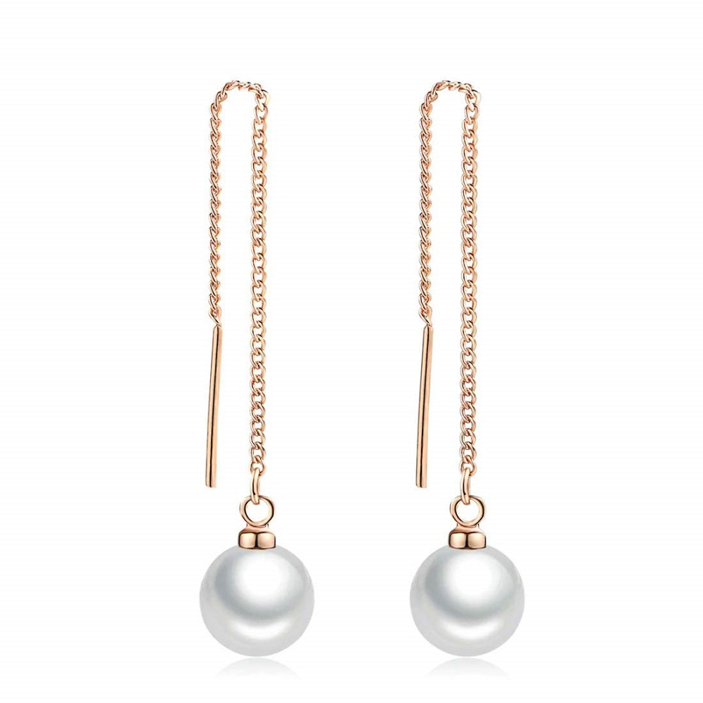 32112a6a17ae6 Buy Pearl Beads Rose Gold Drop Long Hanging Chain Earrings For Women ...