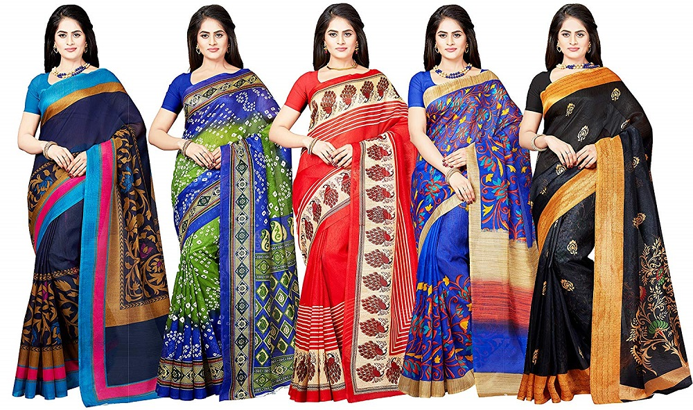 126101bd78a Buy Combo of 5 Multicolor Printed Poly Silk Saree For Women - Ishin ...