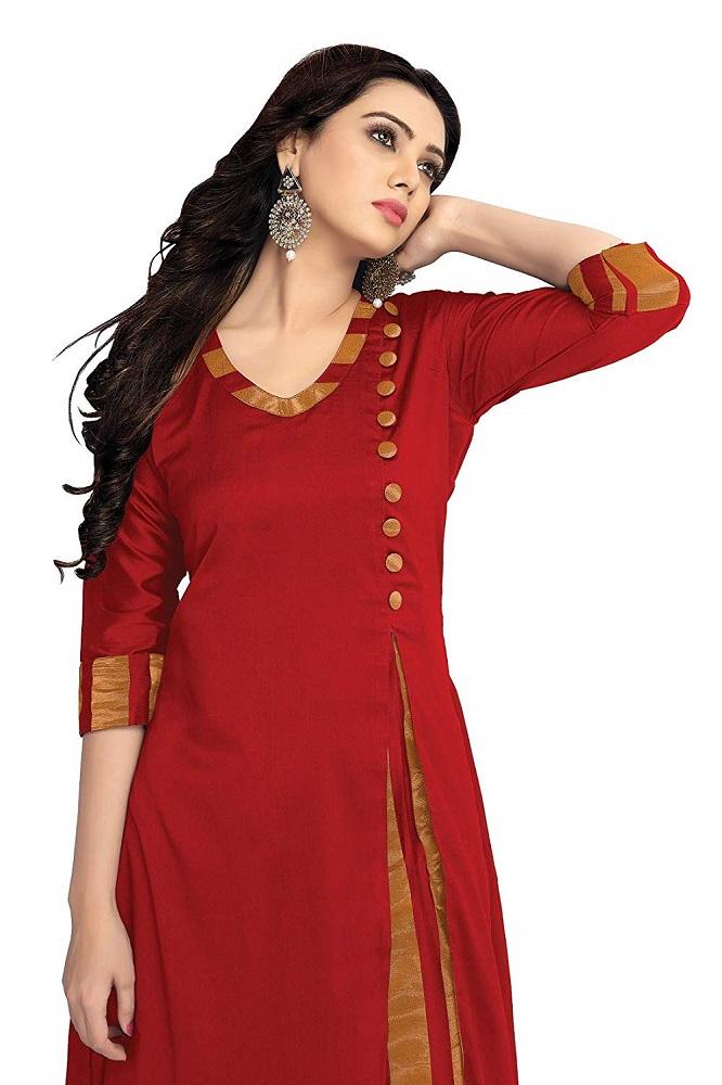 d2d7f3f28 Buy Plain Silk A-Line Red Cotton Kurta Kurti With Fancy Button ...