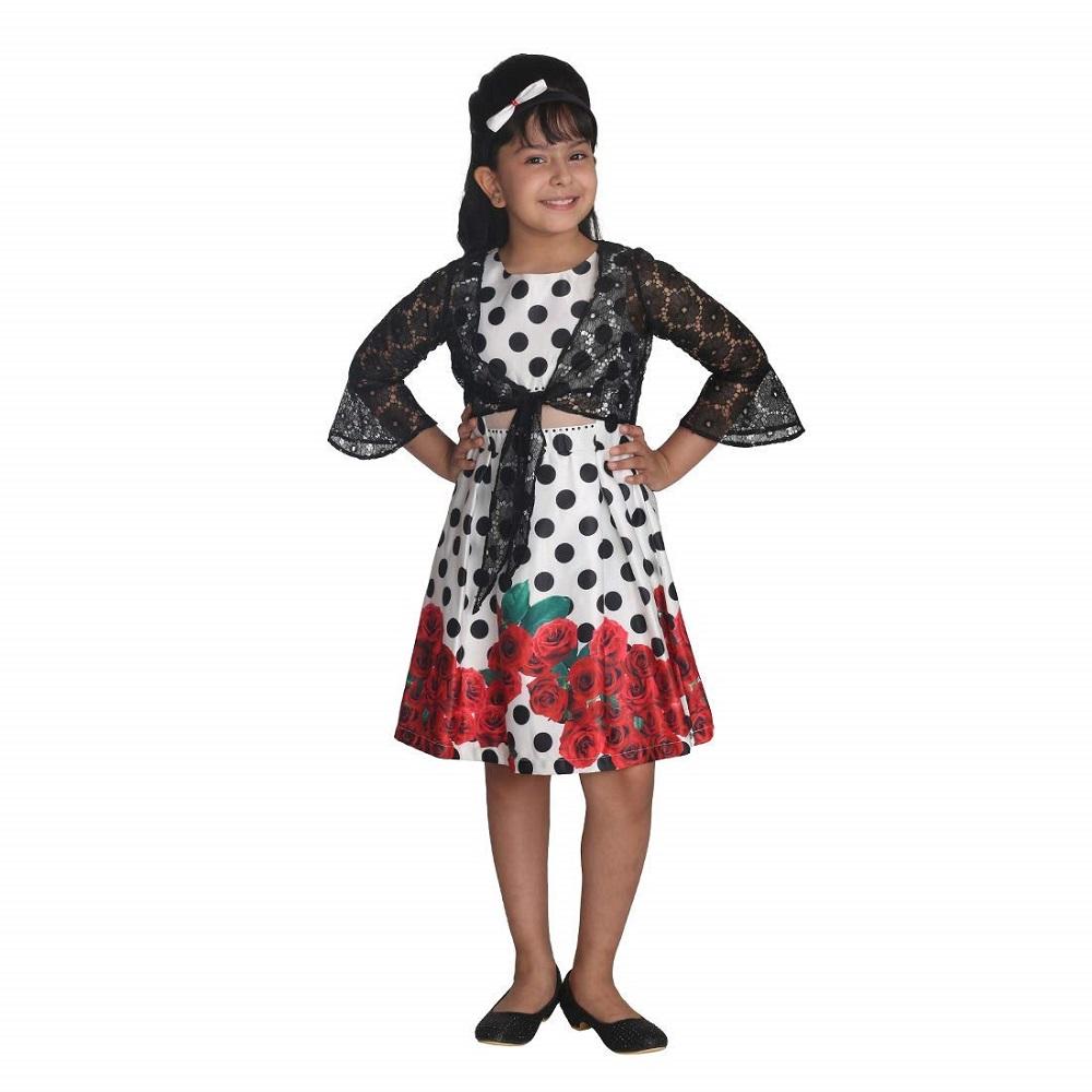 0f61915e49f Buy Girls Satin Polka Dot Black Dress CC1441D - Cutecumber Online at ...