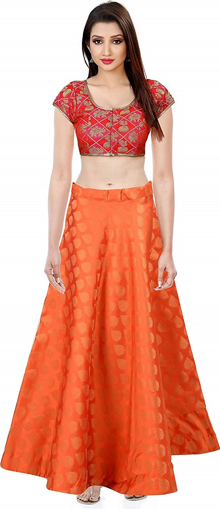 reliable reputation newest style of sophisticated technologies Buy Women's Umbrella Cut Banarasi Silk Skirt (Orange ...