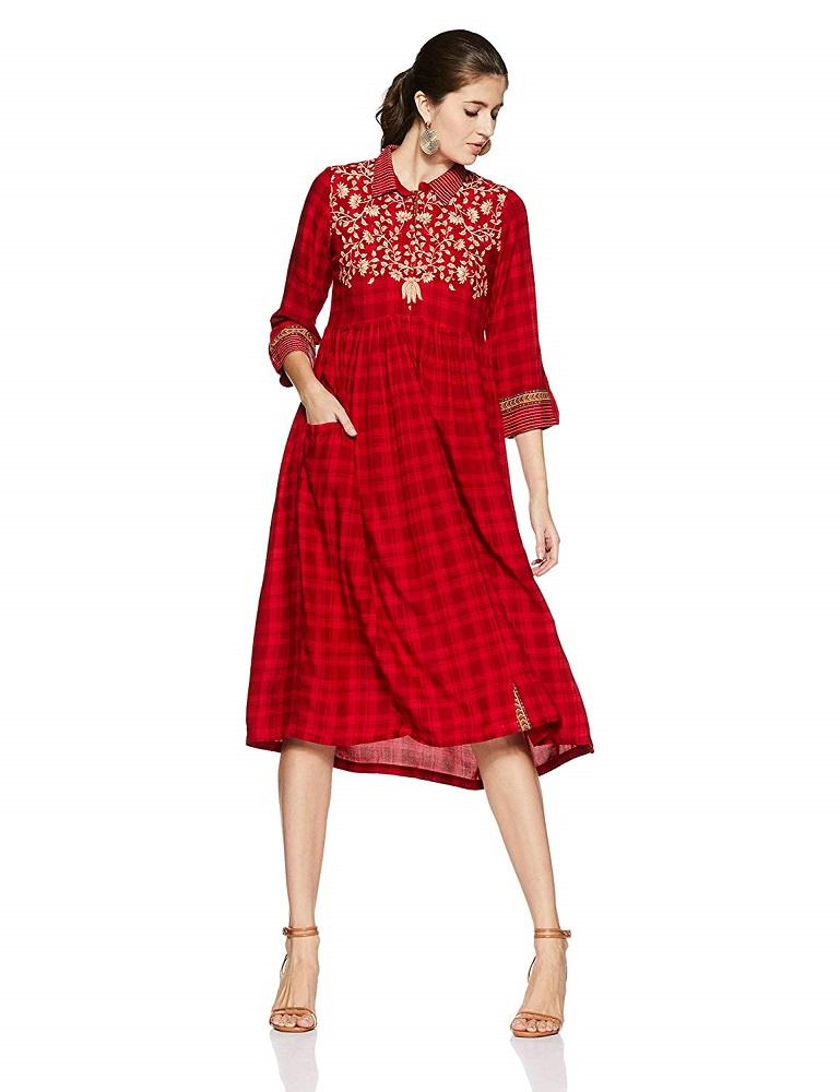 1d700cf0f Buy Women s Velvet A-Line Dress - Rangriti Online at Best Price in India