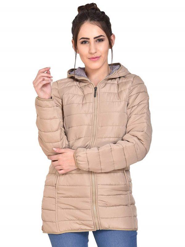 Beige Foam Padded Hooded Jacket