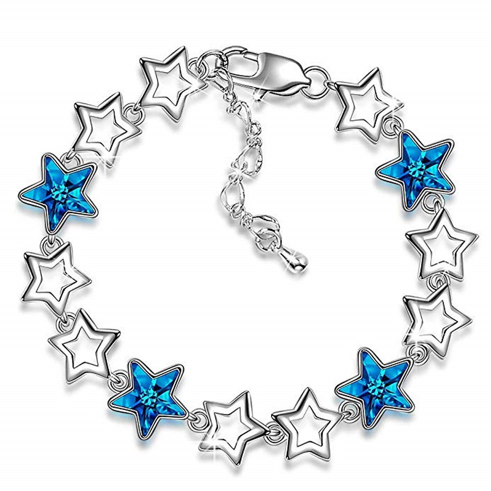 9257be572 Buy Rhodium Plated Fashion Jewellery Blue Crystal Jewelled Linking ...