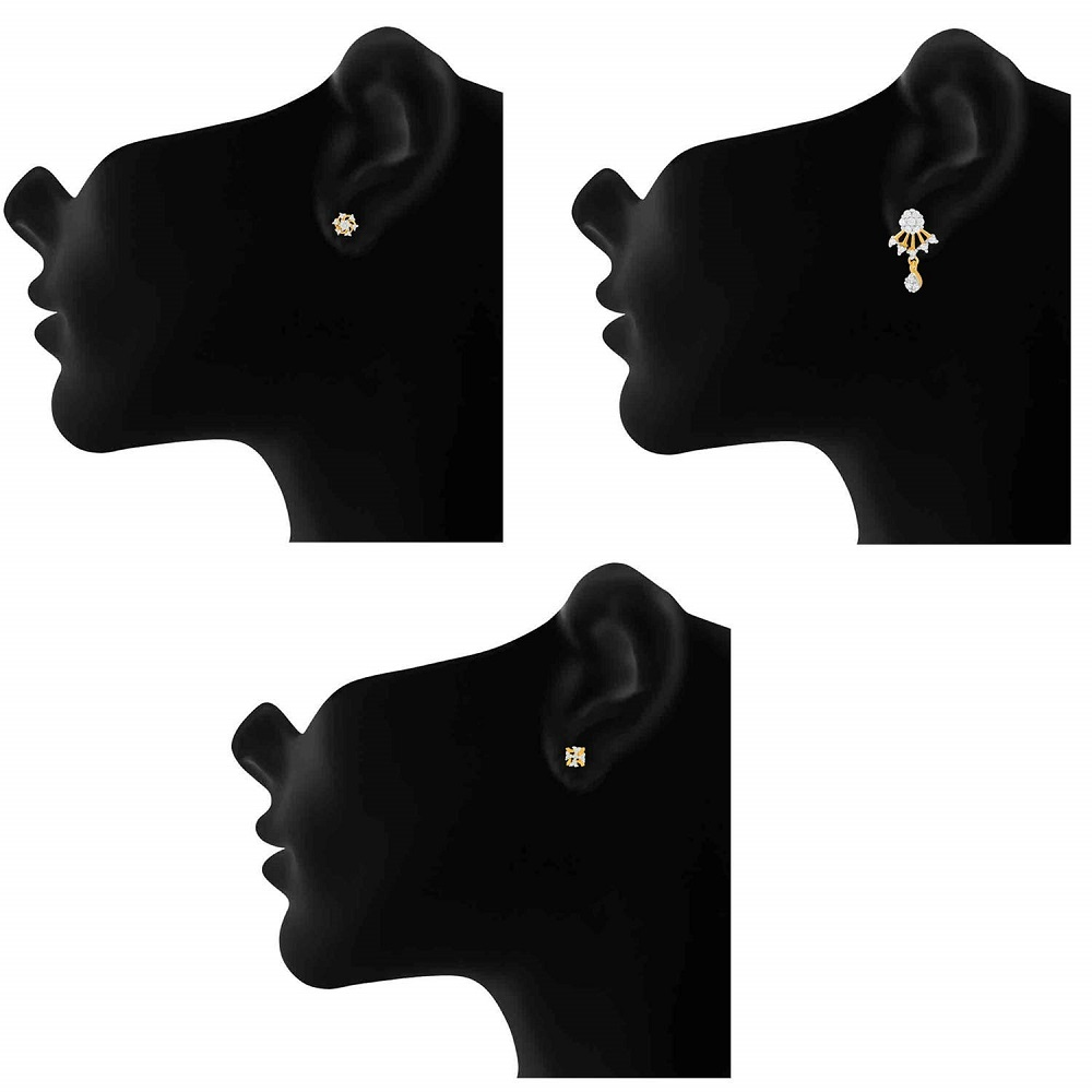 11335c788 Buy Exclusive Gold Plated Combo Of Cubic Zirconia 3 Stud Earrings For Women    Girls CO1104803G Mahi Online at Best Price in India
