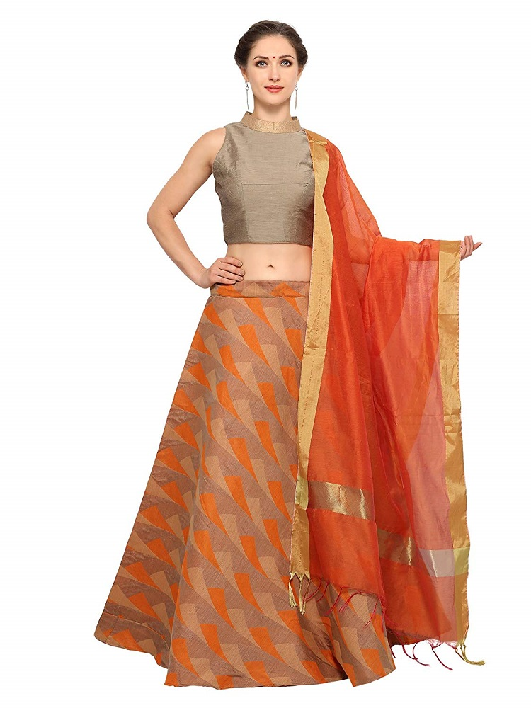 a1b011f3dc7 Buy Orange Banarasi Cotton Semi Stitched Lehenga Set - Inddus Online ...