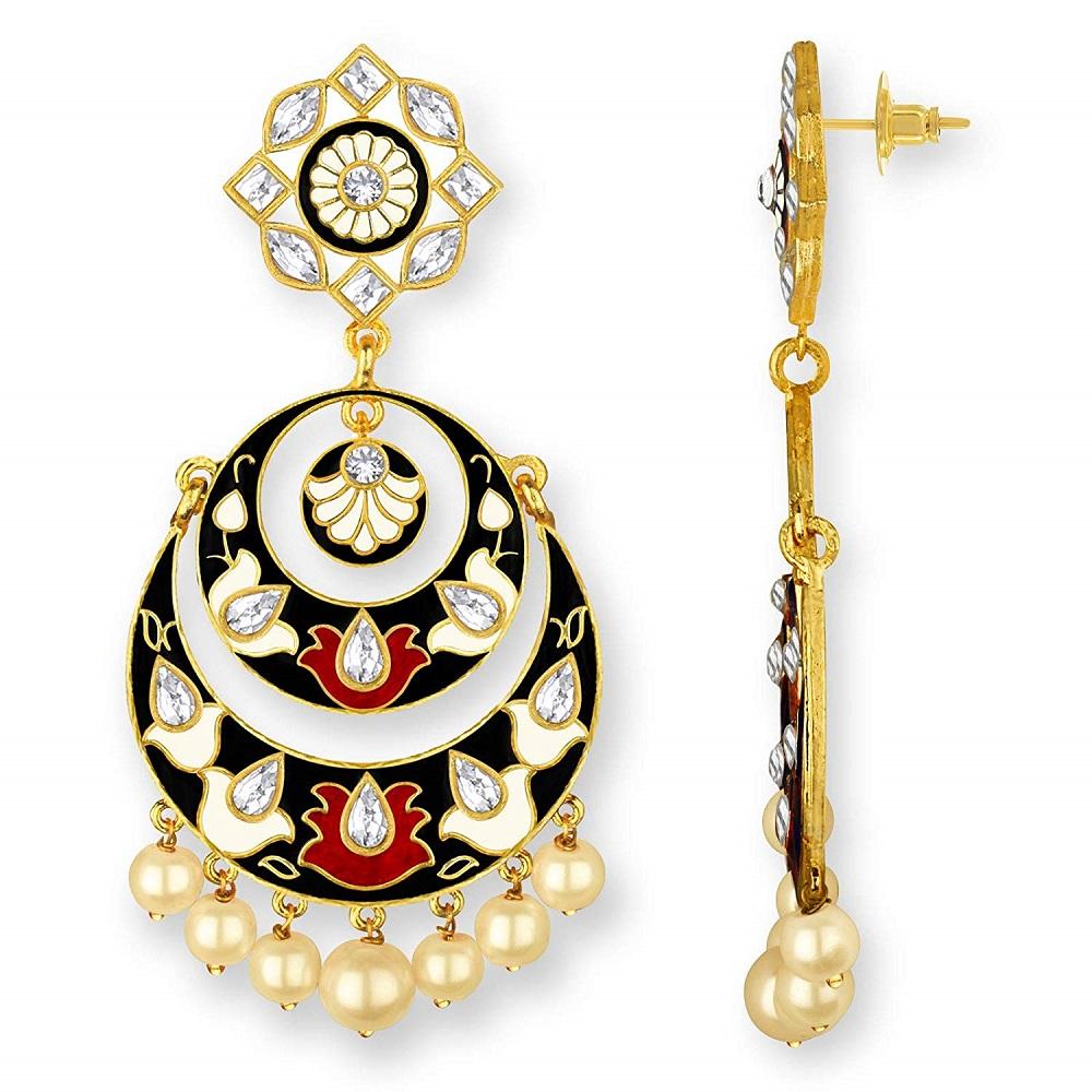 Buy Women S Meenakari Alamod Multicolor Festive Wear Gold