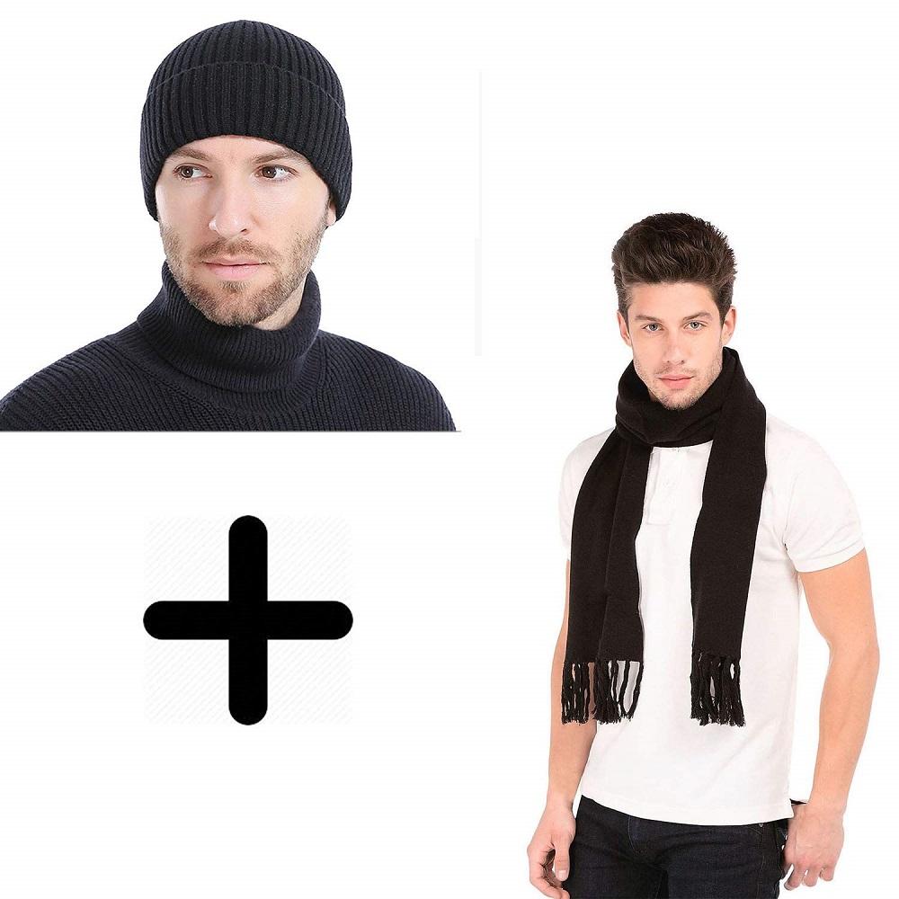 eb469251 Buy Winter Wear Warm Wool Knitted Skull Hat Cap & Muffler For Men ...
