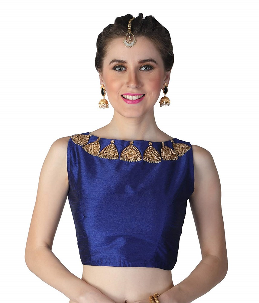24ff6a27da Buy Silk Poly Raw Jhumka Bead Embroidered Readymade Saree Blouse For ...