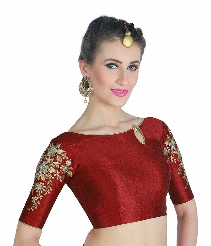 30648a63c6851a Buy Women s Poly Maroon Raw Silk Readymade Saree Blouse With Sleeves ...