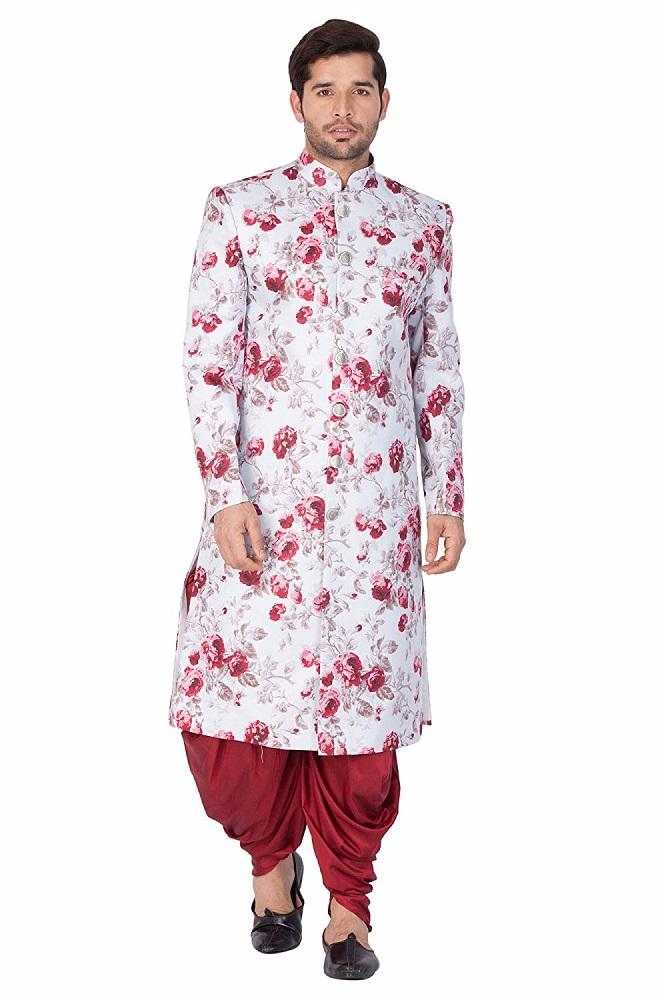 2172093f72 Buy Men's Cotton Blend Sherwani Set (Lavender Grey_VASMSW014nCDMA ...