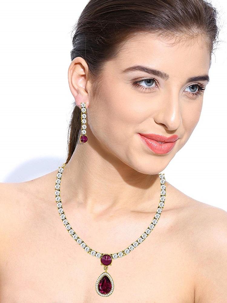 51ec5a05b Buy Women s Dark Pink Jewellery Set (ZPFK5184) - Zaveri Pearls ...
