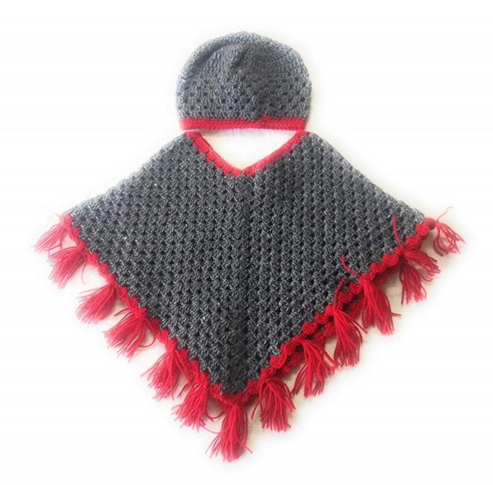 9771ce20f Buy Hand Made Crochet Woolen Designer Combo of Poncho   Cap For Baby ...