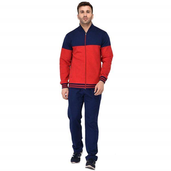Red & Navy Fleece Zipper Tracksuit