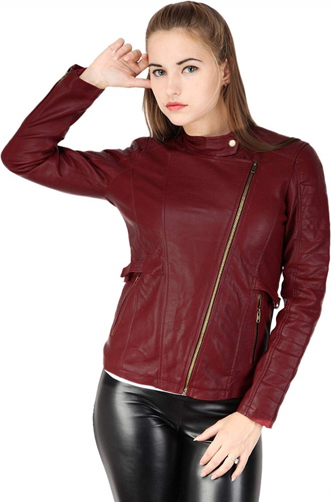 1f07d0502ba Buy Stylish Cherry Red Casual Leather Winter Jacket For Women