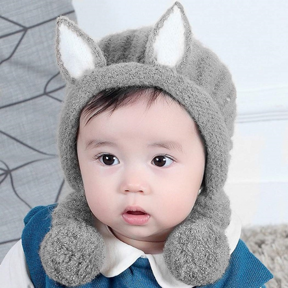 8b7ee9b78 Buy Earmuffs Knitted Winter Wear Warm Pom Pom Hat Infant Cap For ...