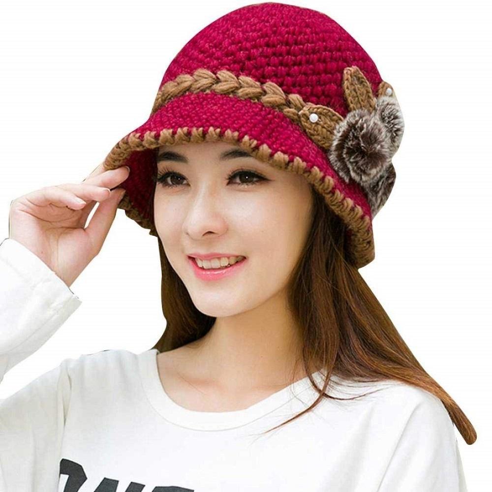 ae71819b80e Buy Women s Fashions Winter Warm Flower Knit Crochet Beanie Hat Cap ...