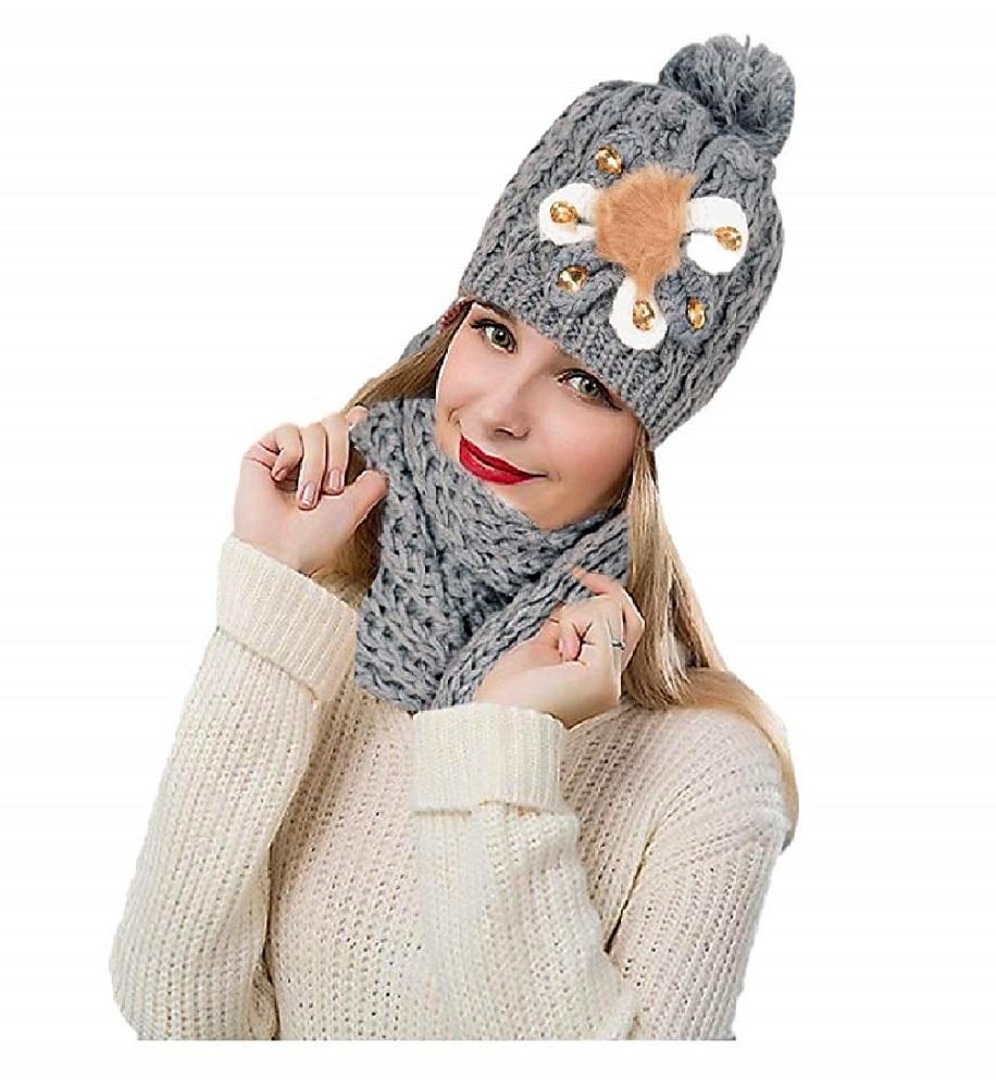 66cdf4e6b Buy Women s Combo Of Winter Woolen Flora Grey Cap With Muffler (Free ...
