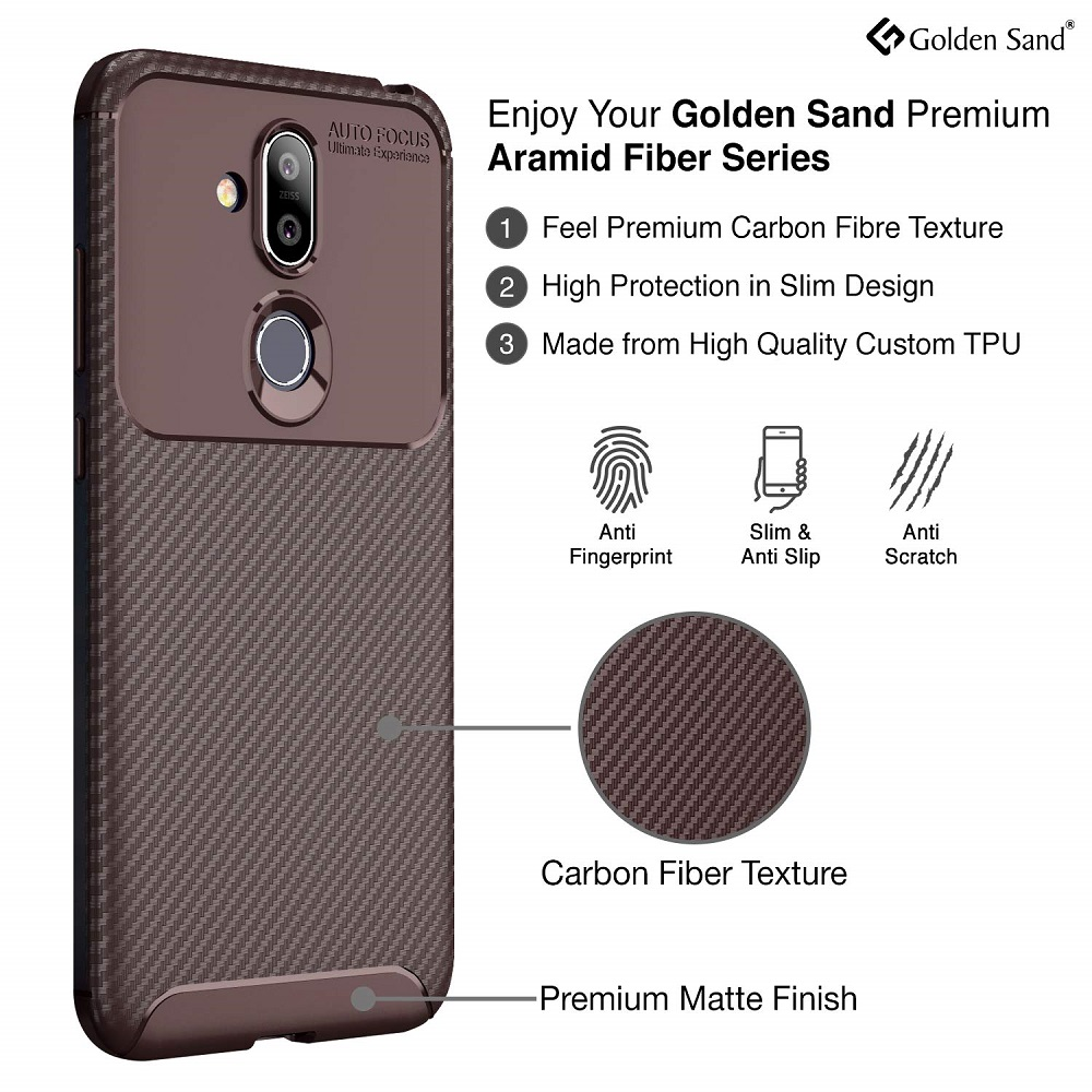 quality design a9e86 d6d6c Buy Aramid Carbon Fibre Shockproof TPU Brown Back Cover Case For ...