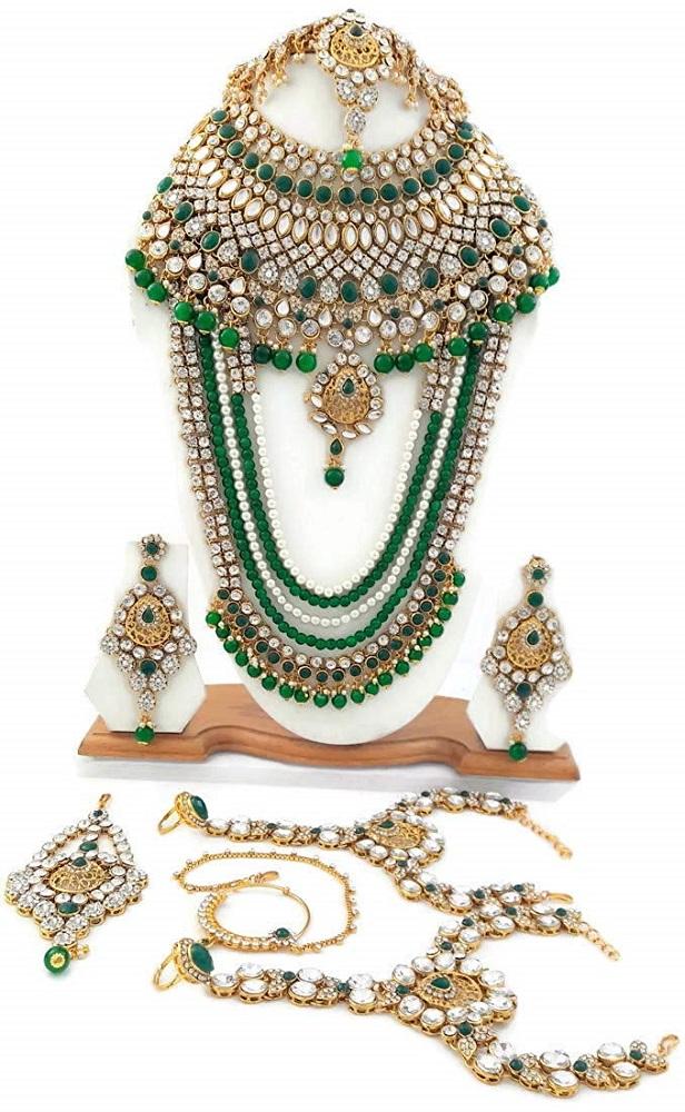 c10fb98c02 Buy Gold Tone Green Kundan Pearl Beads Cz Wedding Bridal Jewelry Set ...