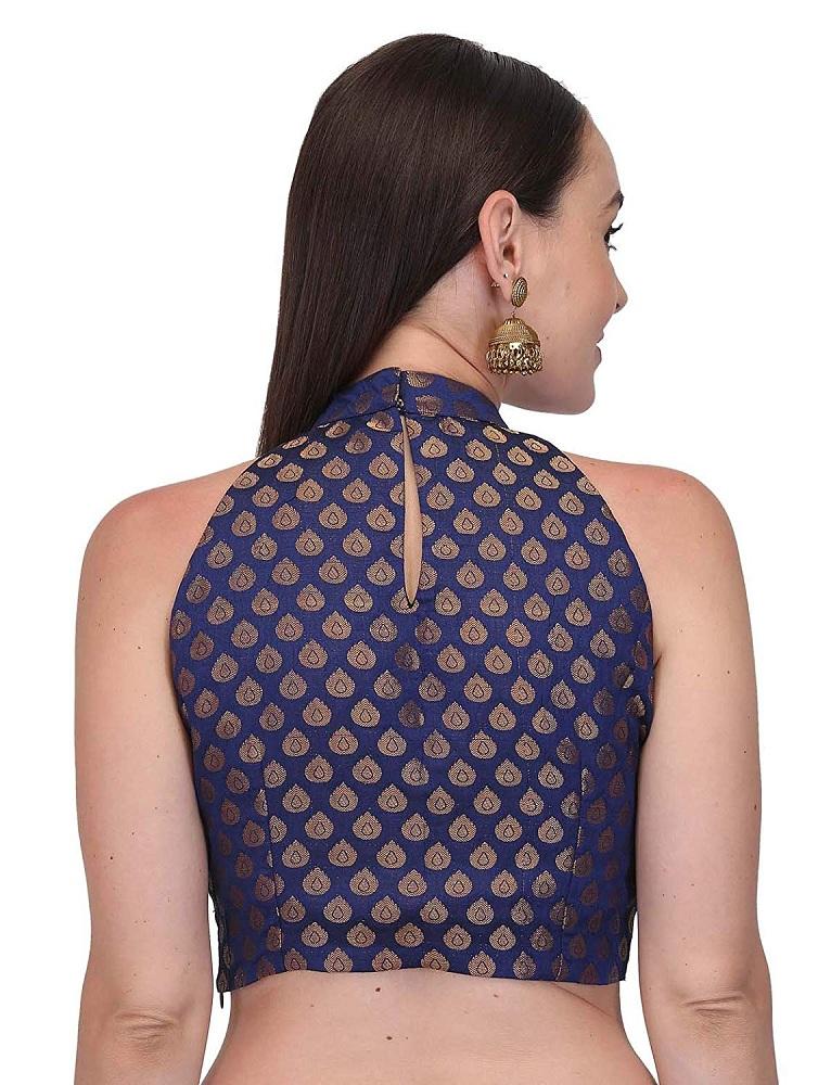 c12f3704b7424c BuyWomen s Brocade Katty Jari Fabric Blue   Golden Sleeveless Blouse ...