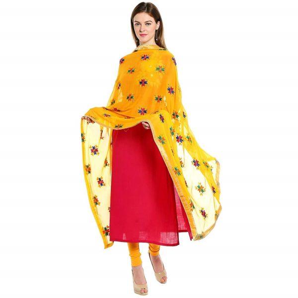 Phulkari Yellow Dupatta