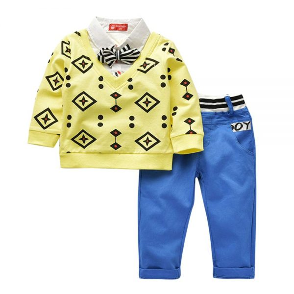 Boys Yellow Stylish T-Shirt and Pant Set -