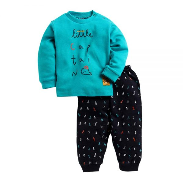 Cotton Text Printed Full Sleeves T-Shirt and Pant Set