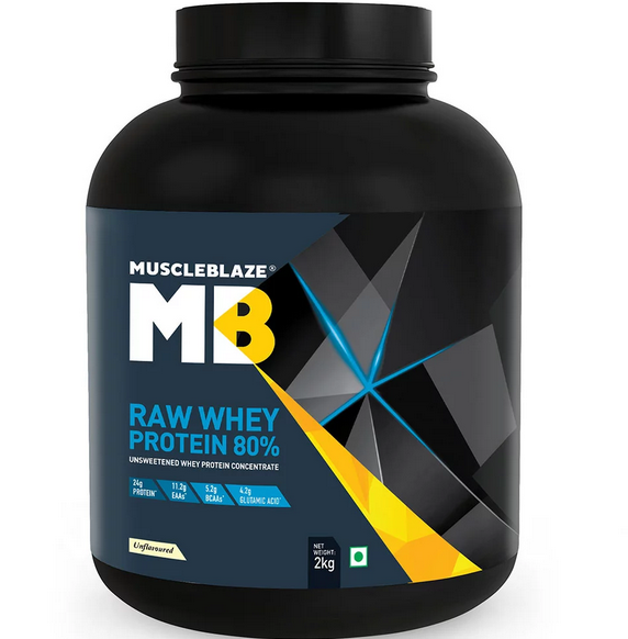 MuscleBlaze Raw Whey Protein (4.4 lb Unflavoured)