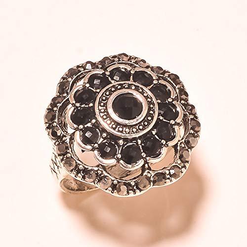 Black Onyx & Zircon Gemstone Silver Plated Ring