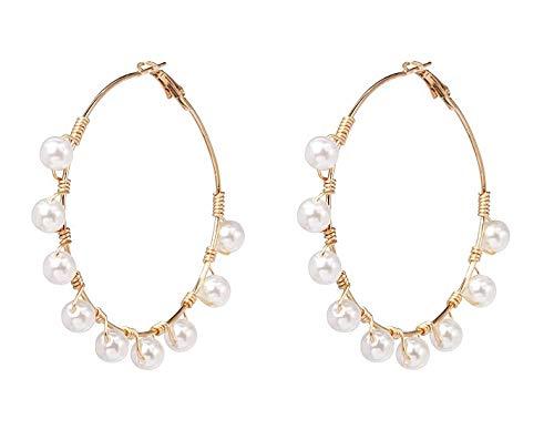 Gold Mesh and Pearl Charm Cara Earrings