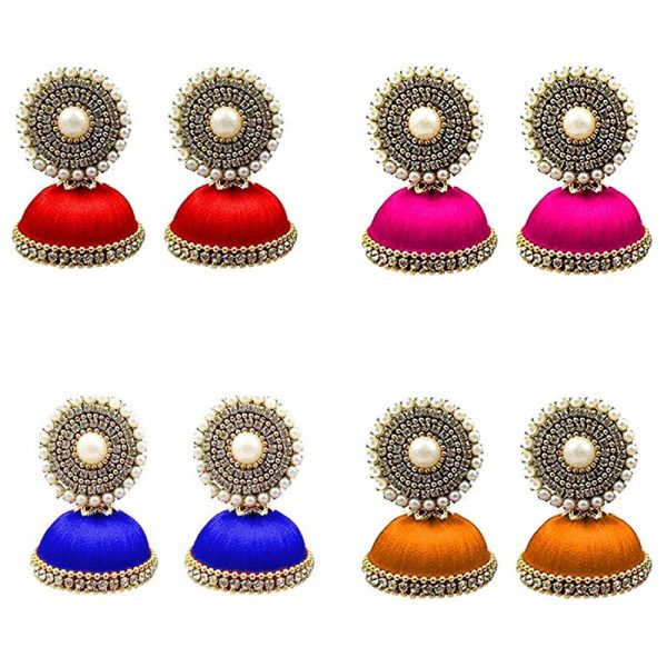 Handmade Silk Thread Jhumki Earrings