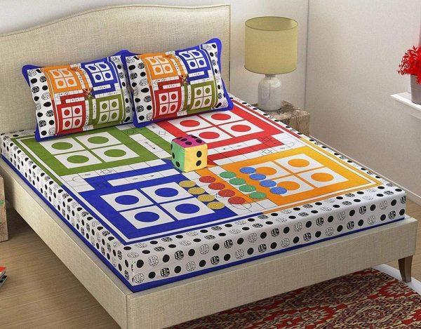 Ludo Print Multicolour Double Bedsheet
