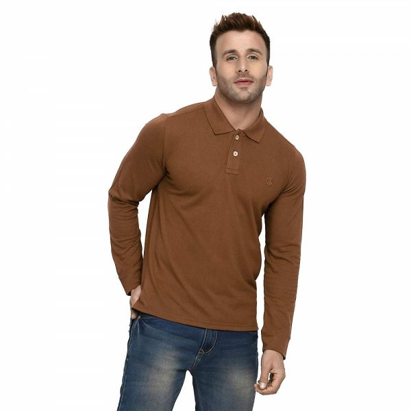 Polo Neck Full Sleeves Cotton T-Shirt