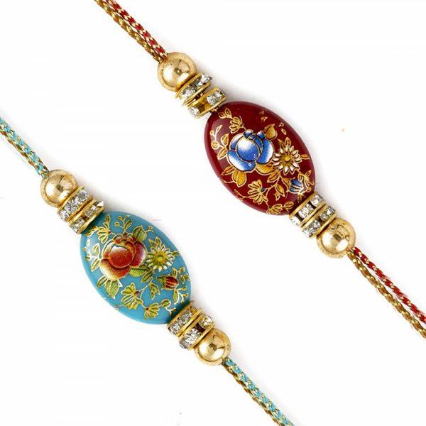 American Diamonds Floral Enamel Work Rakhi