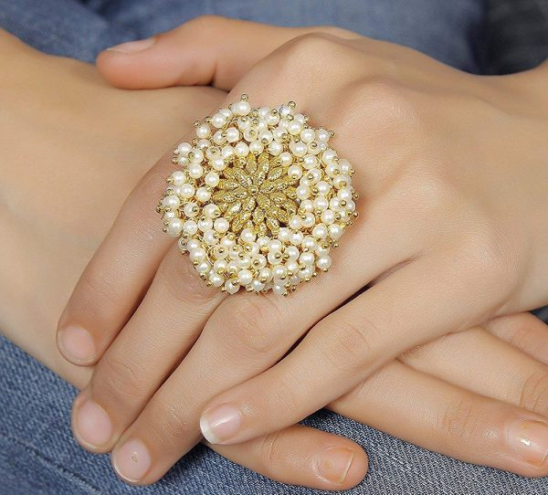 Gold Plated Faux Pearl Polki Finger Ring
