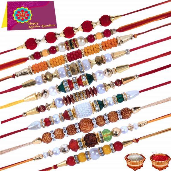 Multicolor Combo of 10 Dora Rakhi Set
