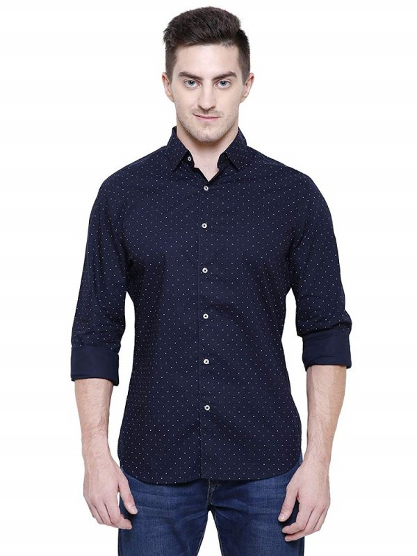 Navy Printed Cotton Slim Fit Casual Shirt