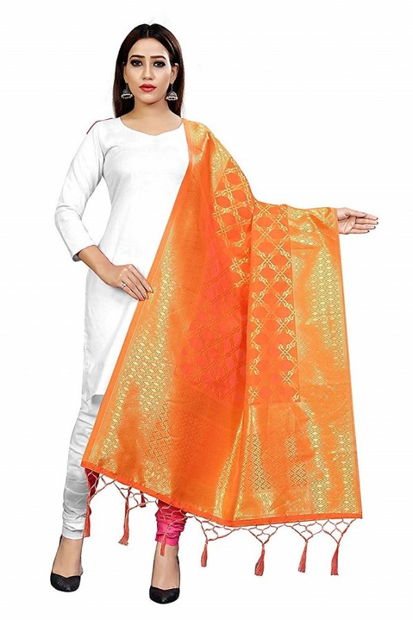 Raw Silk Woven Orange Dupatta